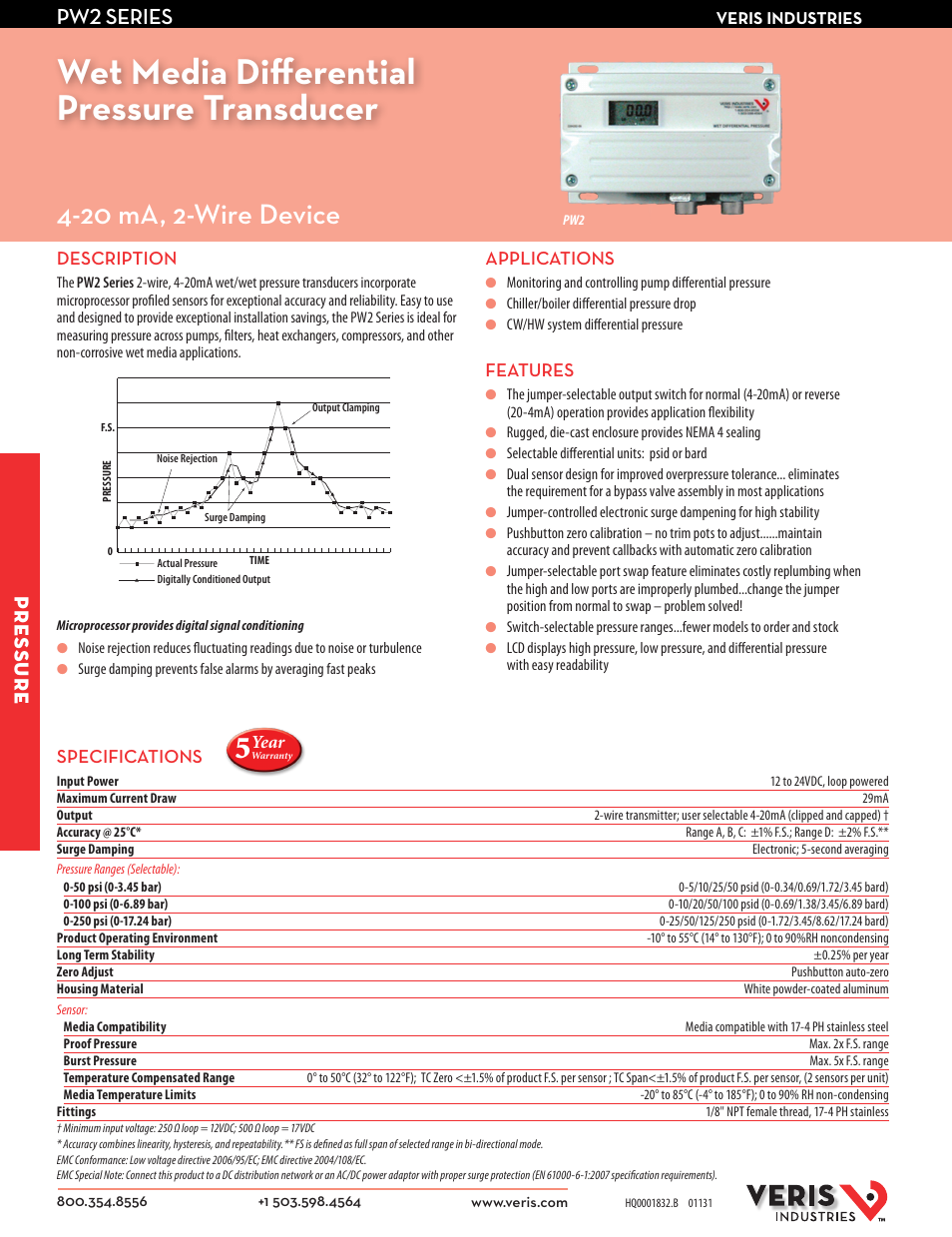 Veris Industries PW2 SERIES Datasheet User Manual | 2 pages