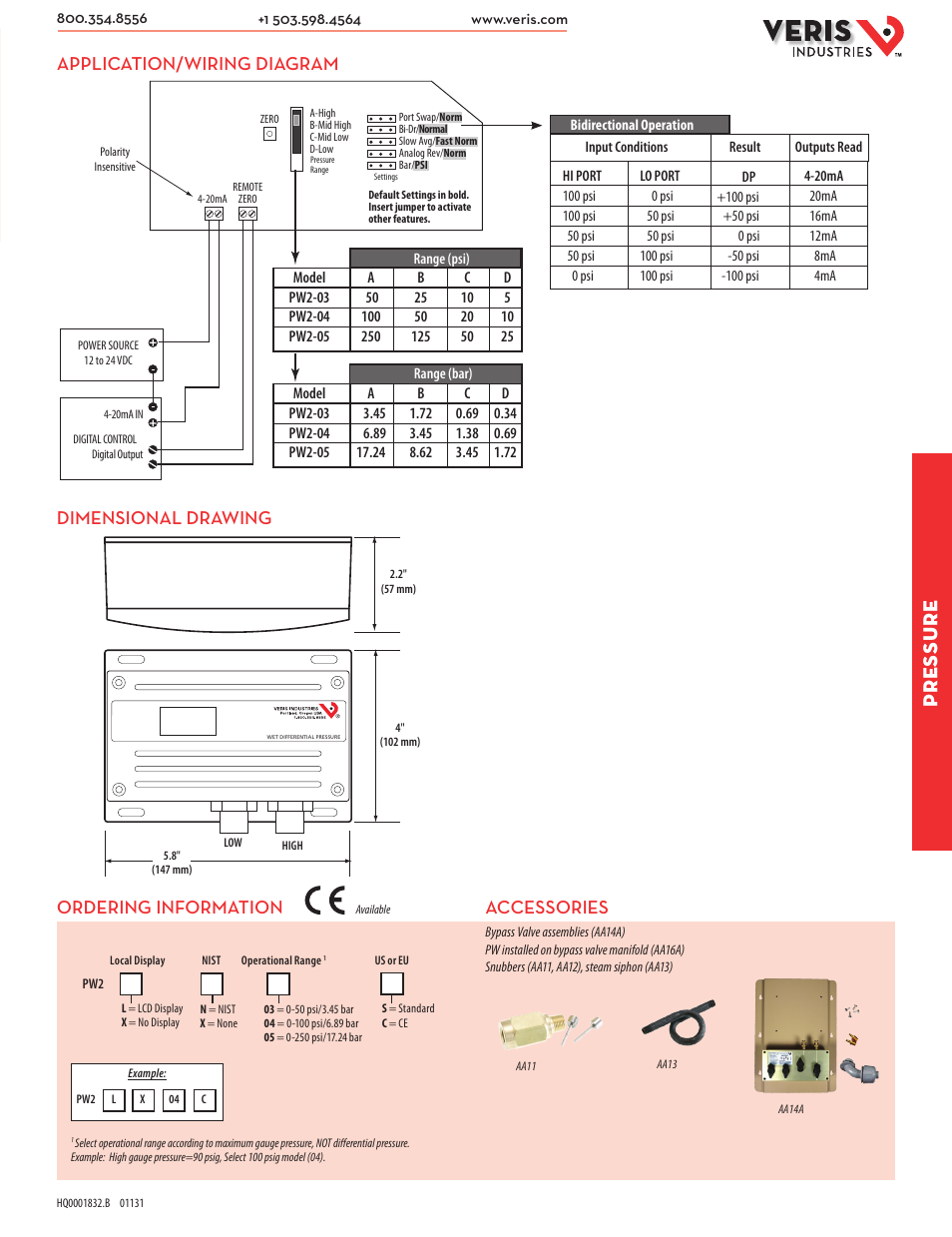 veris industries pw2 series datasheet page2 pressure, accessories, application wiring diagram dimensional  at edmiracle.co
