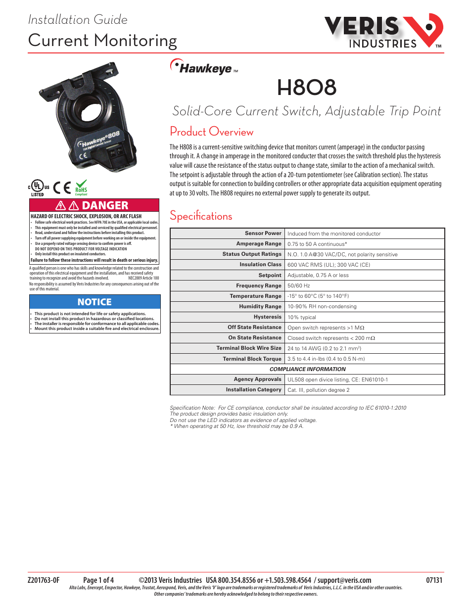 Veris industries h808 install user manual 4 pages publicscrutiny Choice Image