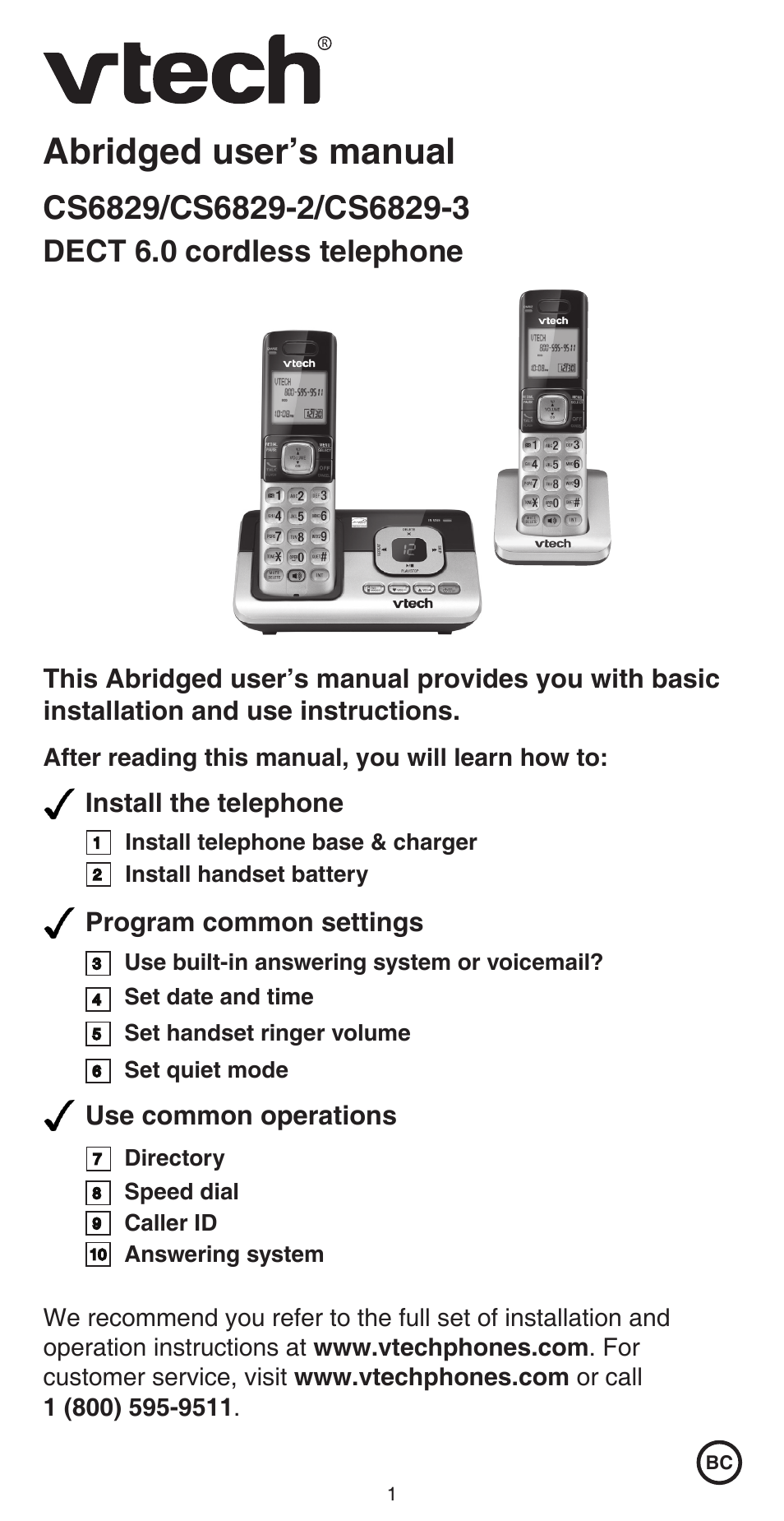 Vtech Cs6829 Abridged Manual User Manual Manual Guide