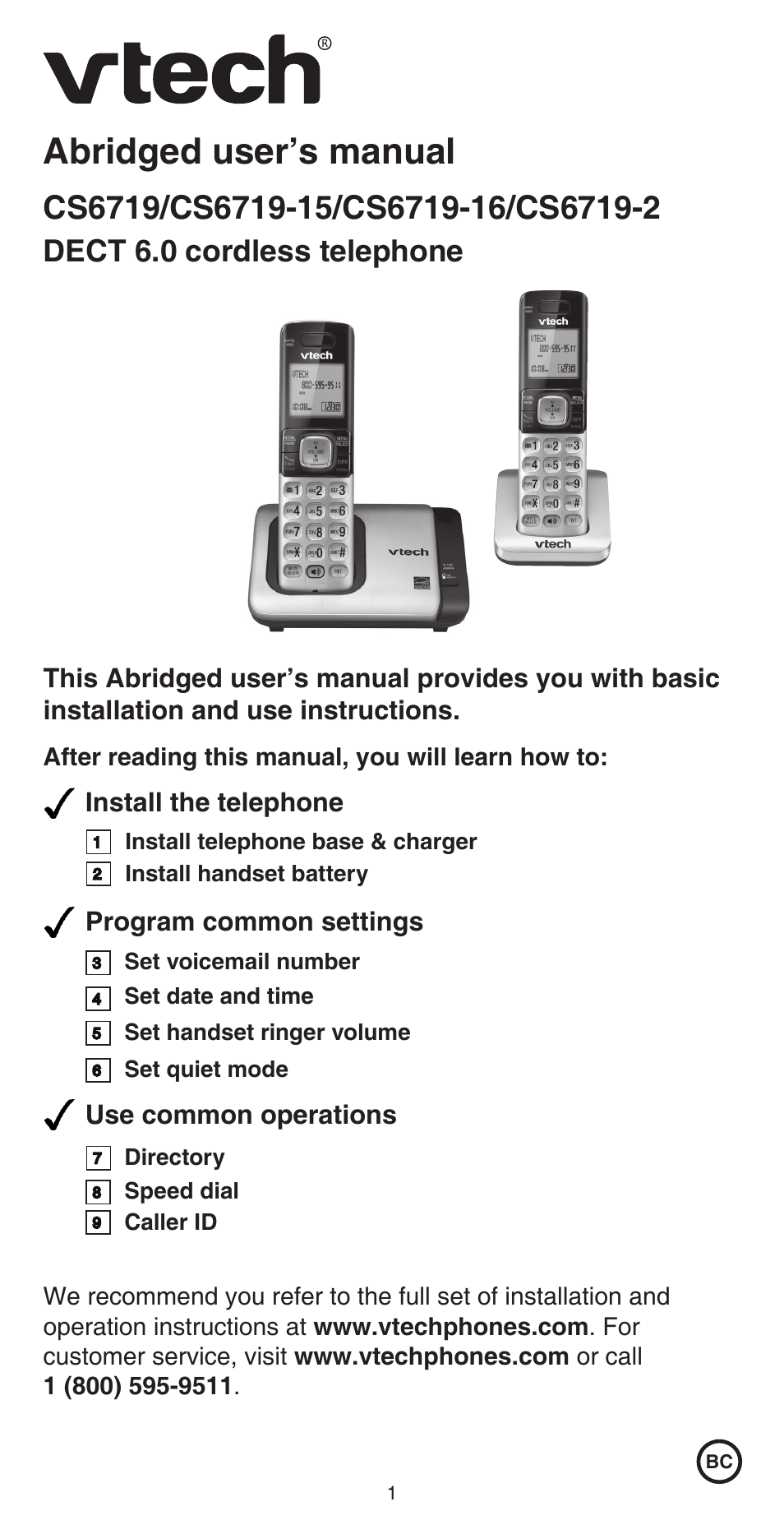 VTech CS6719-2 Abridged manual User Manual | 12 pages