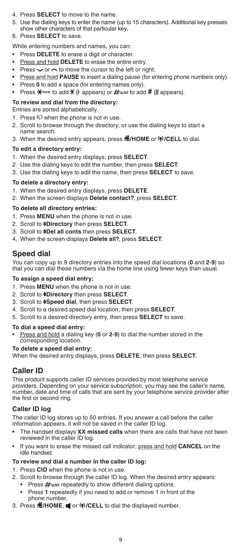 speed dial caller id vtech ds6522 3 32 4 abridged manual user rh manualsdir com VTech DECT 6.0 User Manual VTech Phone User Manual