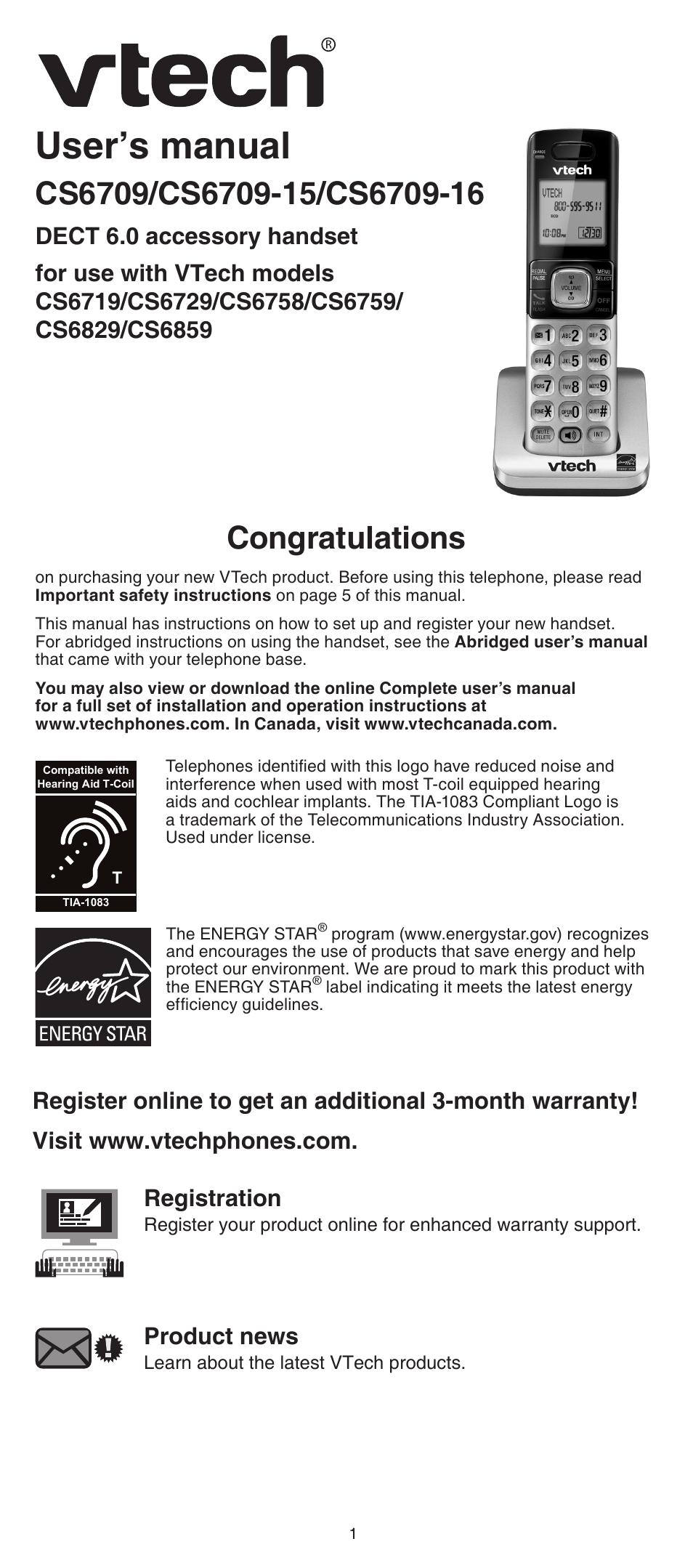 Vtech Cs6709 15 16 Manual User Manual 8 Pages