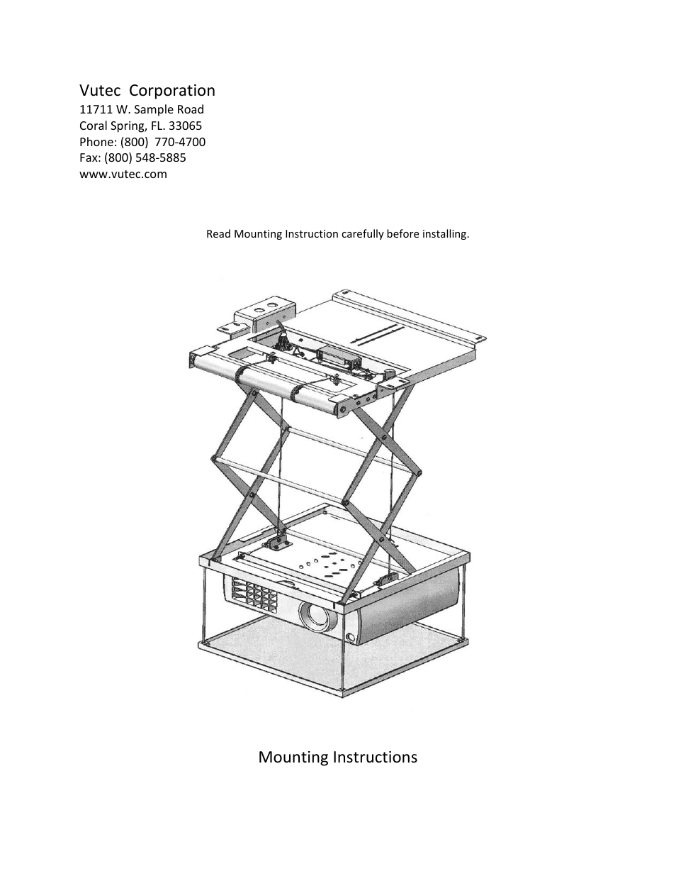 Vutec PROJECTOR SCISSOR LIFT - Installation Instructions User Manual | 16  pages