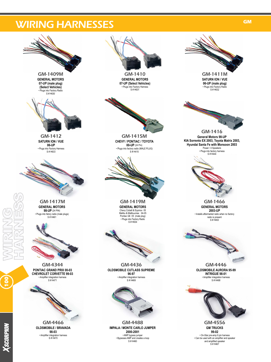 Wiring harnesses, Gm-4344, Gm-1415m | Xscorpion Dash kit, Harness and  Antenna Catalog User Manual | Page 100 / 116