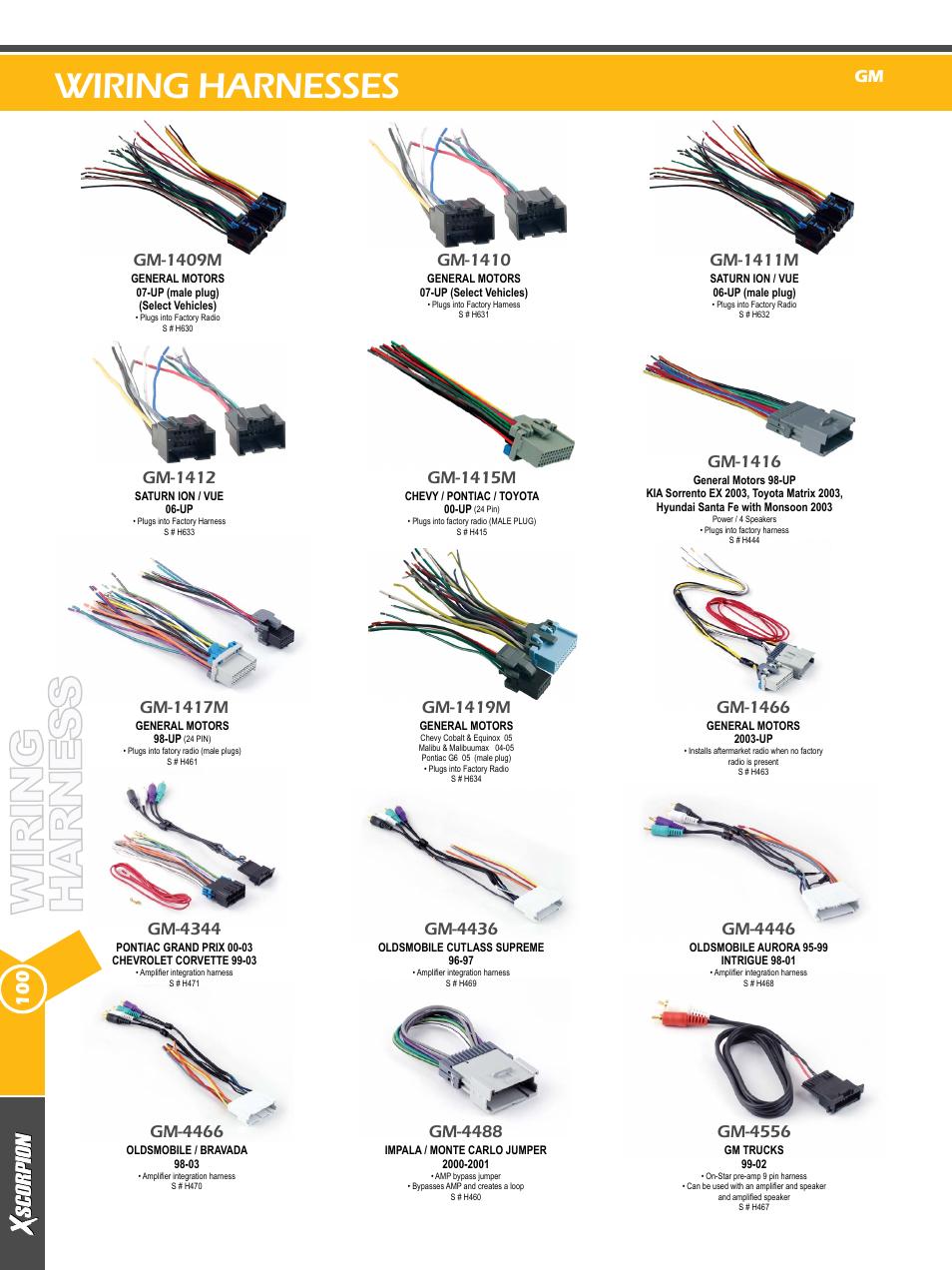 xscorpion dash kit harness and antenna catalog page100 wiring harnesses, gm 4344, gm 1415m xscorpion dash kit, harness xscorpion wire harness at bakdesigns.co