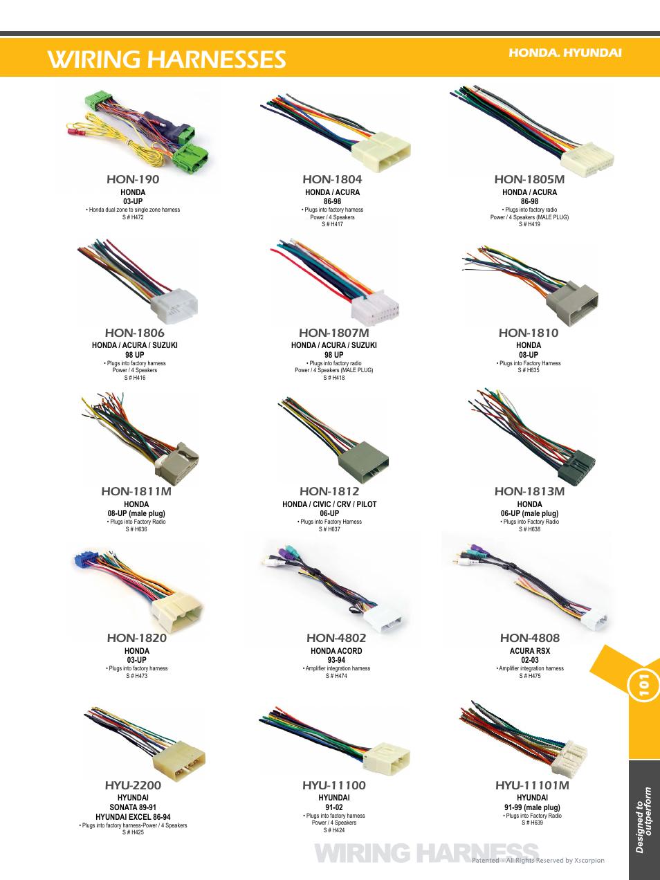 Wiring harnesses, Hon-1806, Hon-1807m | Hon-1804, Hon
