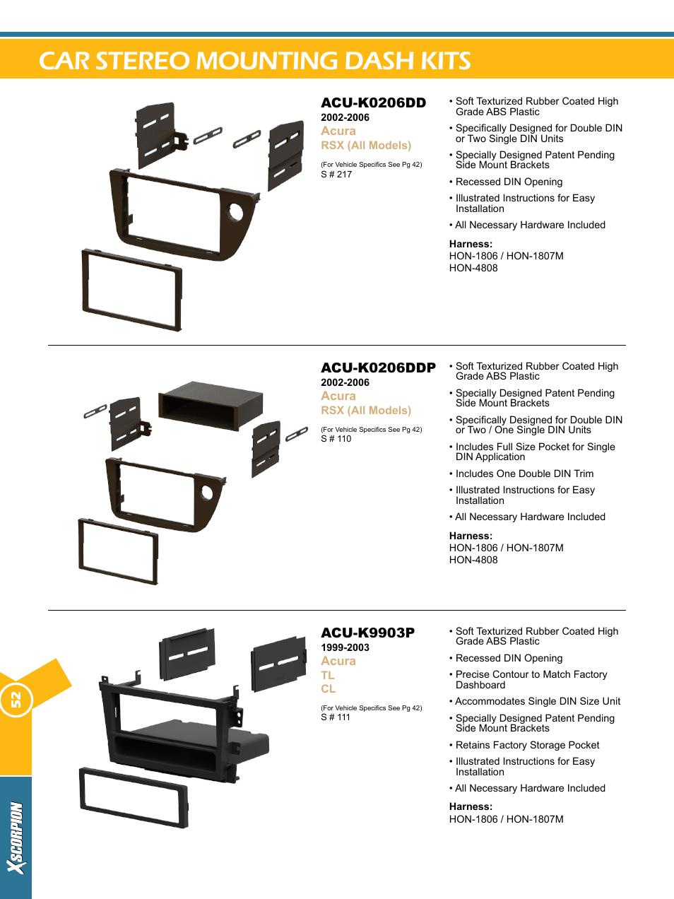 Car stereo mounting dash kits, Acu-k0206dd, Acu-k0206ddp | Xscorpion Dash  kit, Harness and Antenna Catalog User Manual | Page 52 / 116