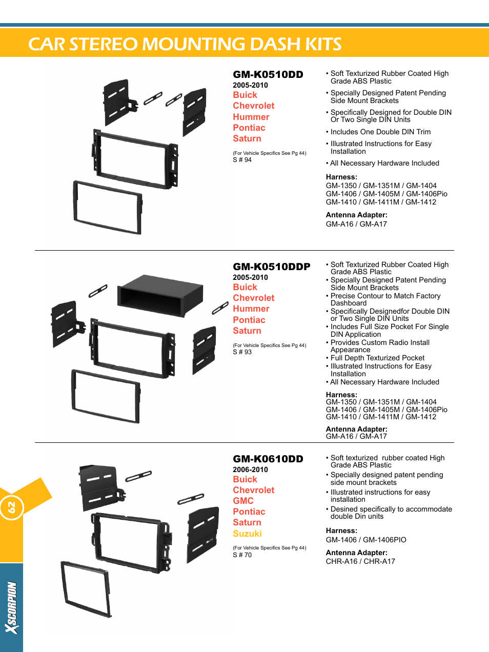 Car Stereo Mounting Dash Kits Gm K0510dd K0510ddp Xscorpion Buick Abs Diagram Kit Harness And Antenna Catalog User Manual Page 62 116