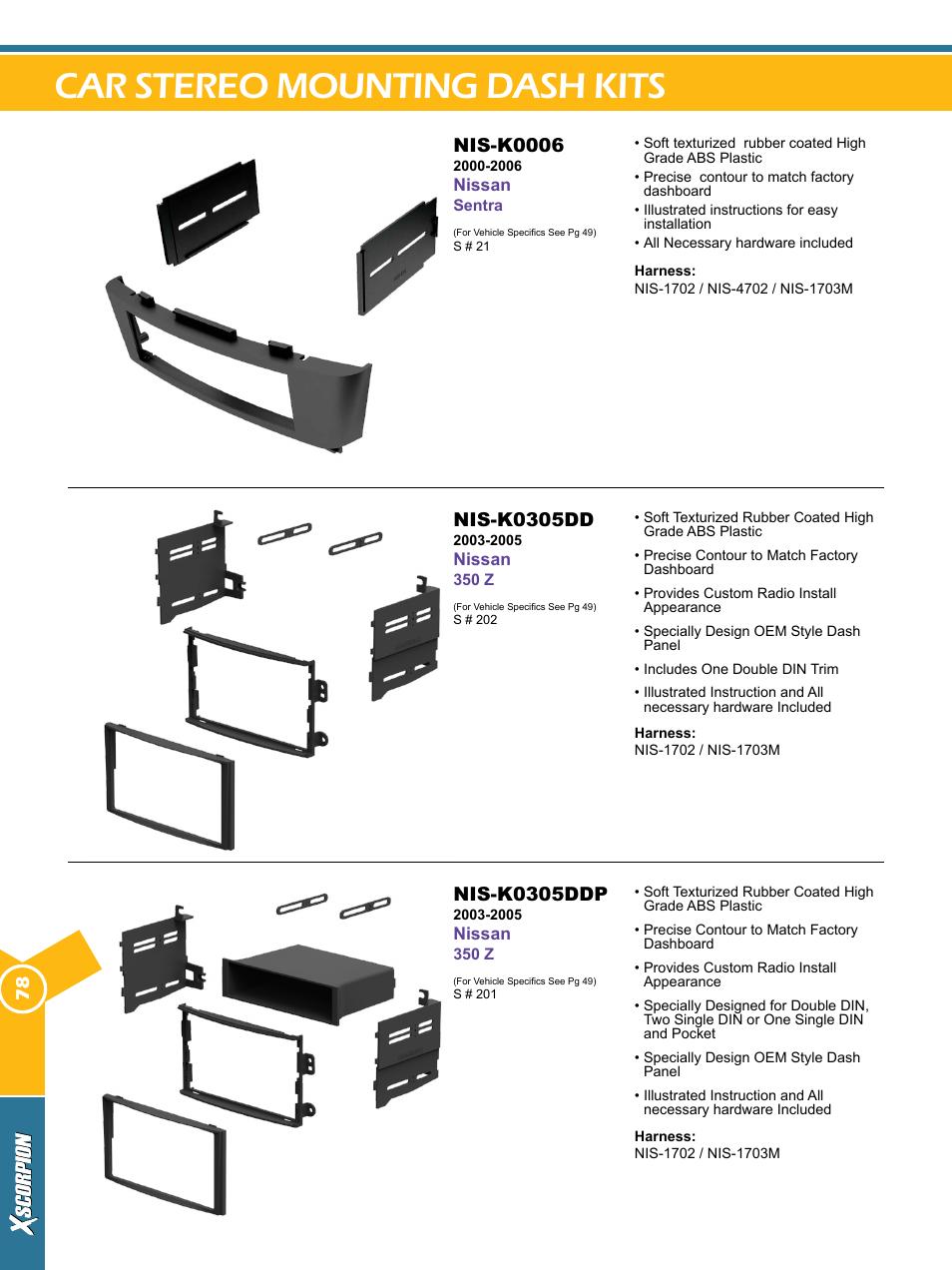Xscorpion car stereo mounting dash kit 7