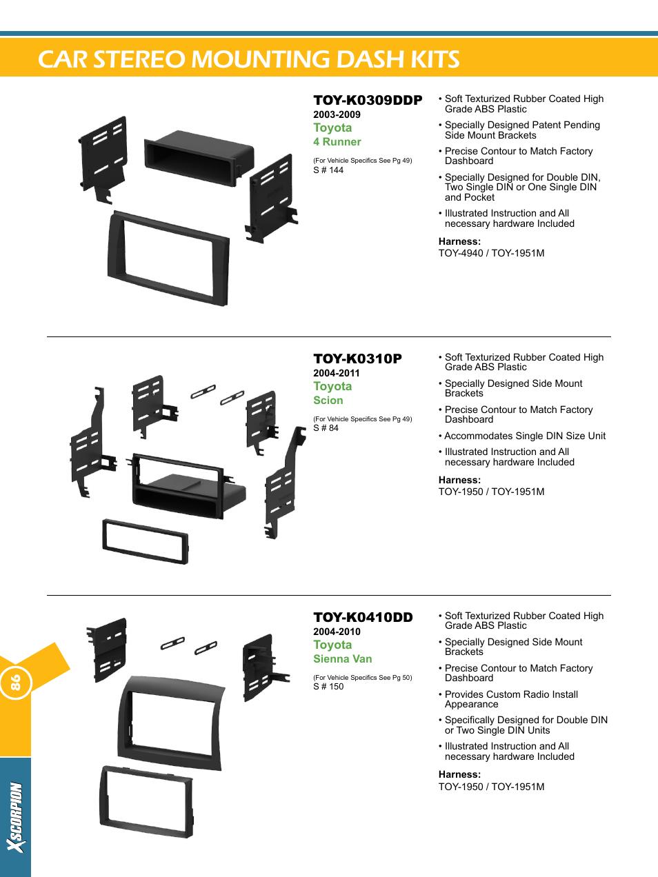 Car stereo mounting dash kits, Toy-k0309ddp, Toy-k0310p | Toy-