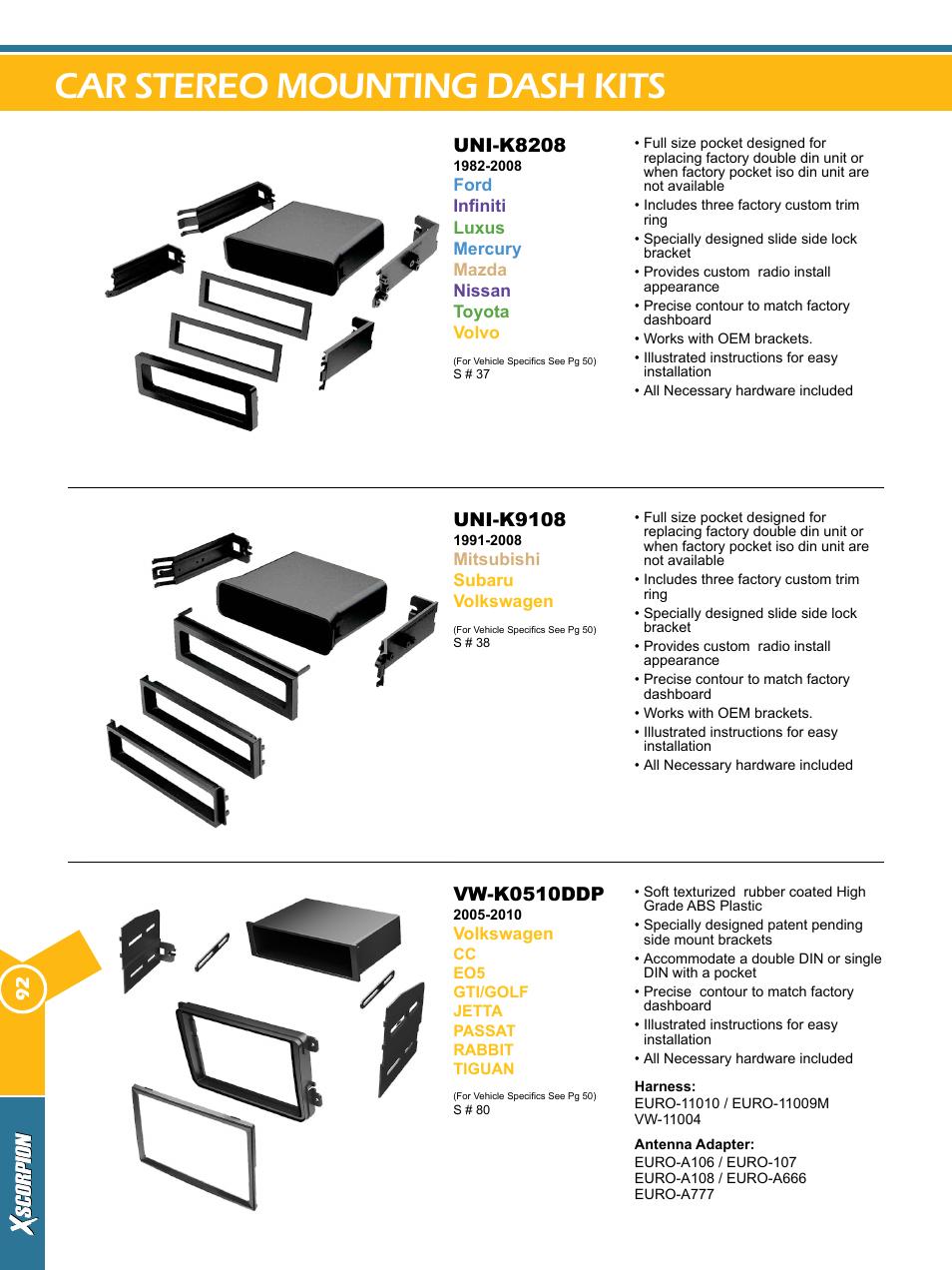 Car stereo mounting dash kits, Vw-k0510ddp, Uni-k9108   Uni-