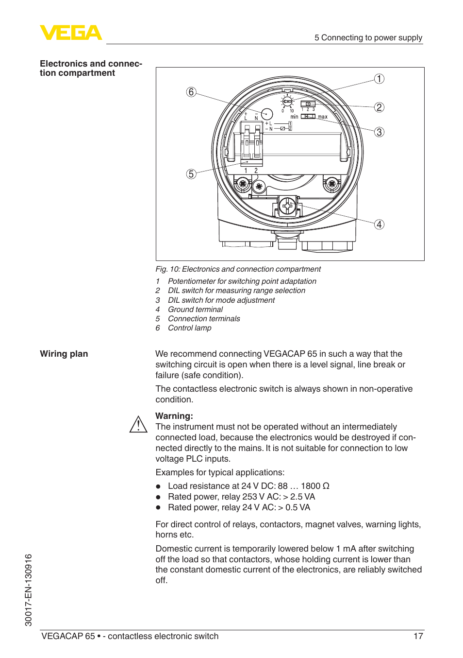 Vega Vegacap 65 Contactless Electronic Switch User Manual Page Relay Holding Current 17 40