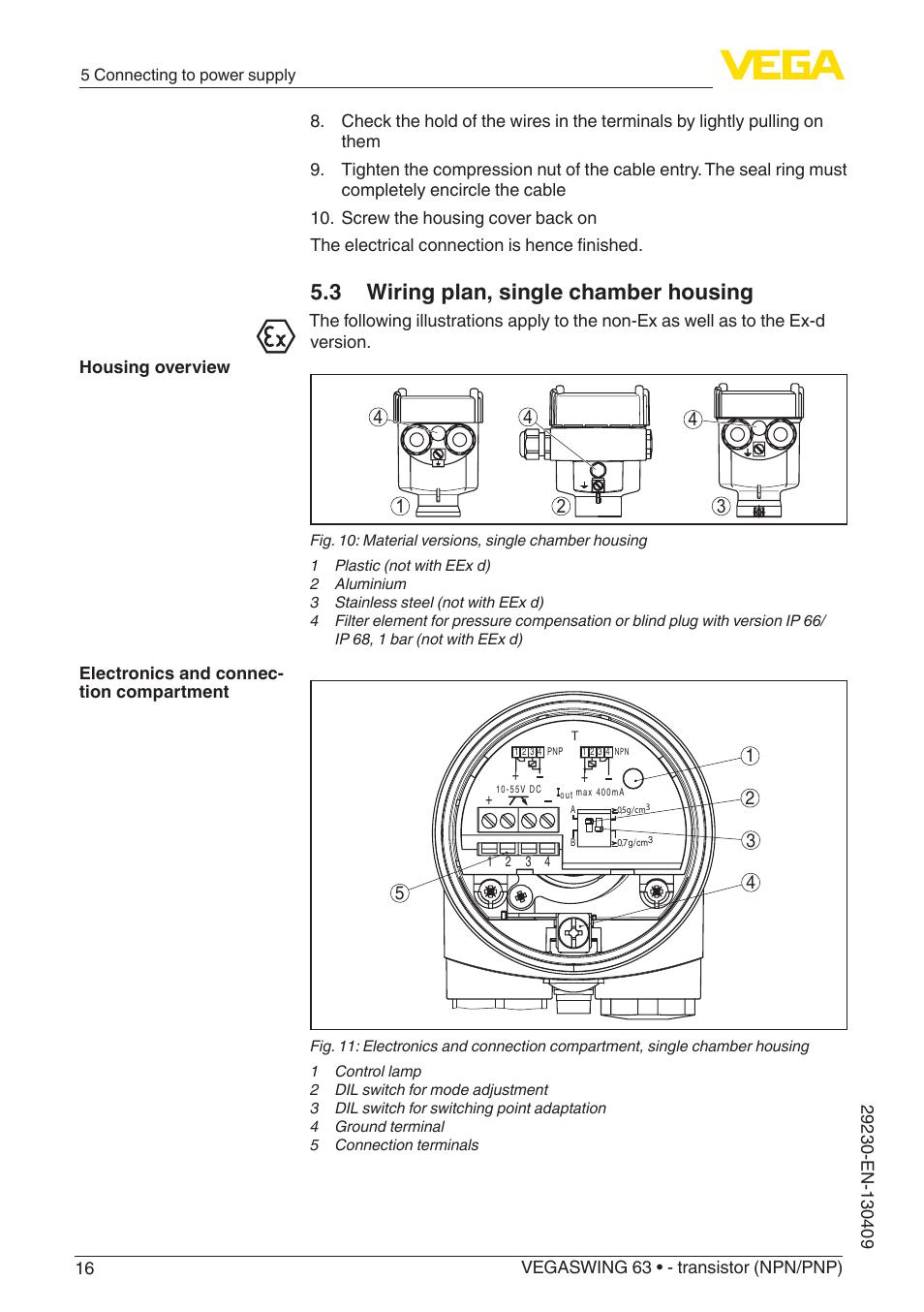 3 wiring plan, single chamber housing | VEGA VEGASWING 63 ...