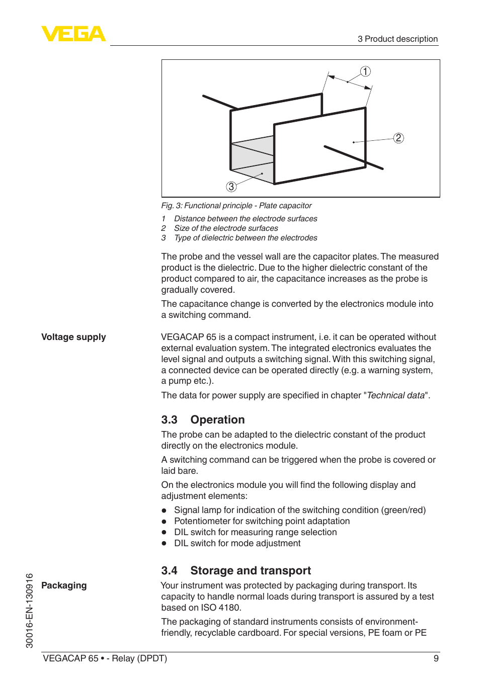 3 Operation 4 Storage And Transport Vega Vegacap 65 Relay Dpdt Function User Manual Page 9 40