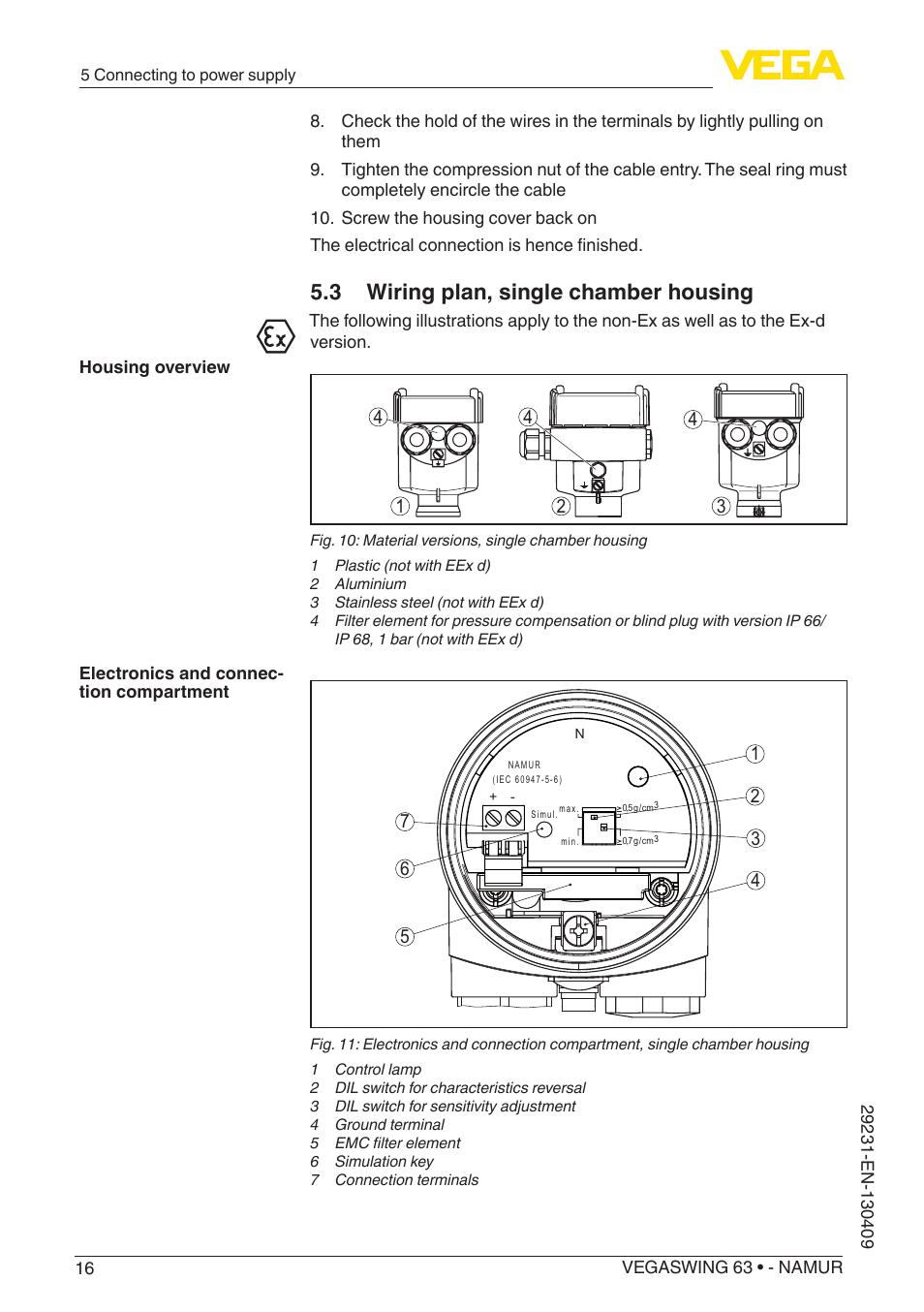 3 Wiring Plan Single Chamber Housing Vega Vegaswing 63 Namur Diagrams User Manual Page 16 40