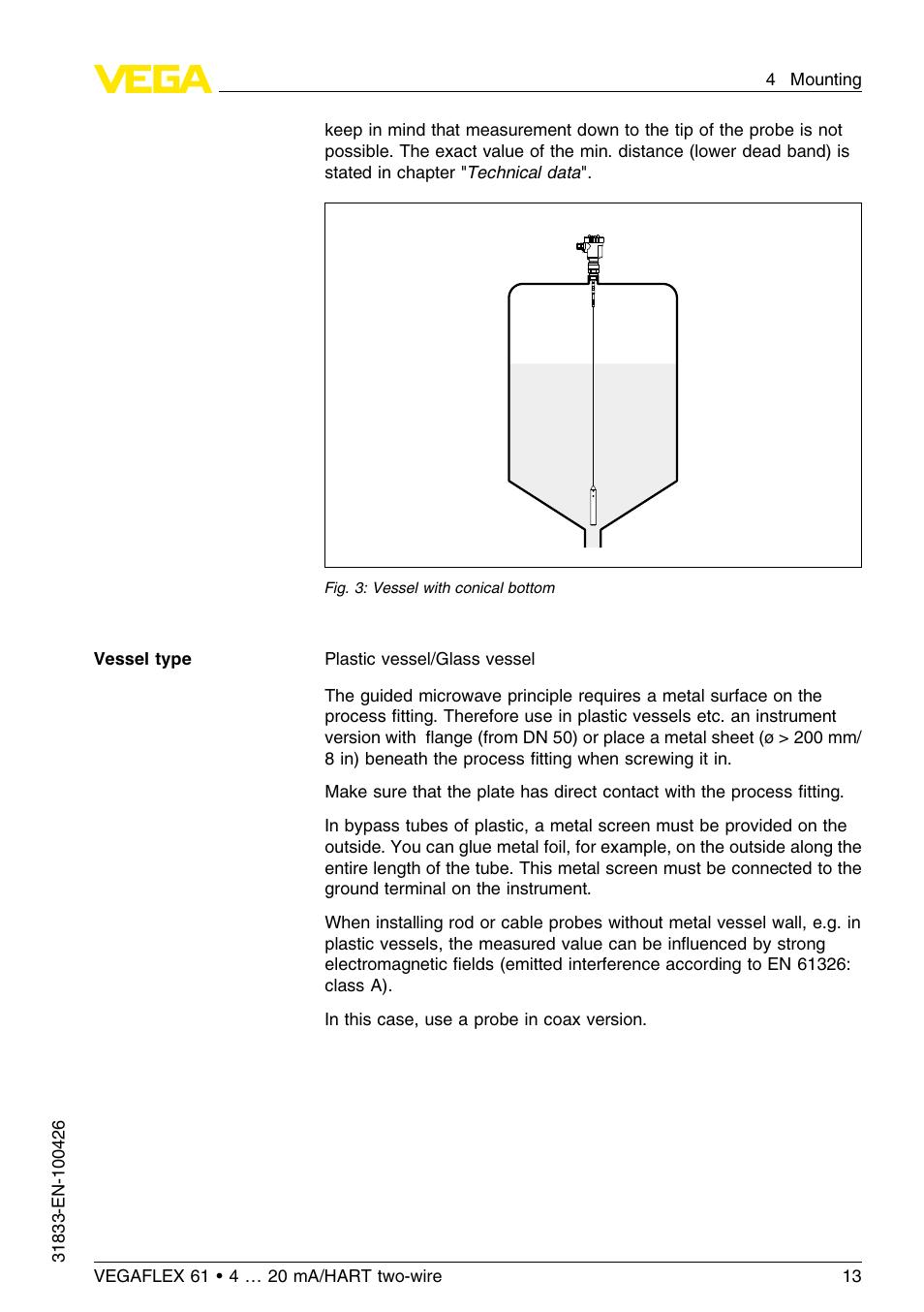 Fillable online installation maintenance instructions vegaflex 61.