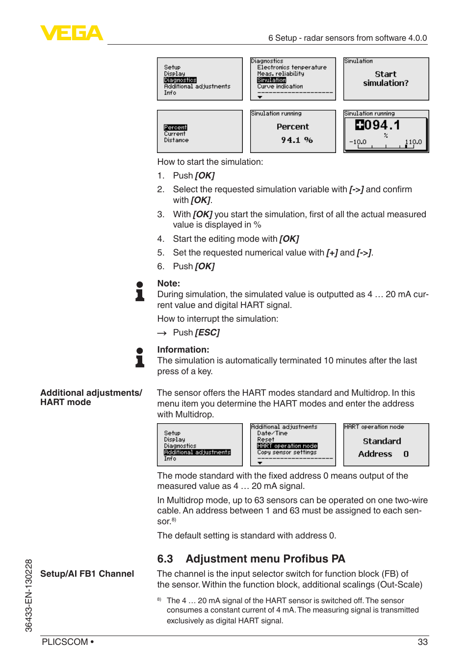3 adjustment menu profibus pa   VEGA PLICSCOM User Manual