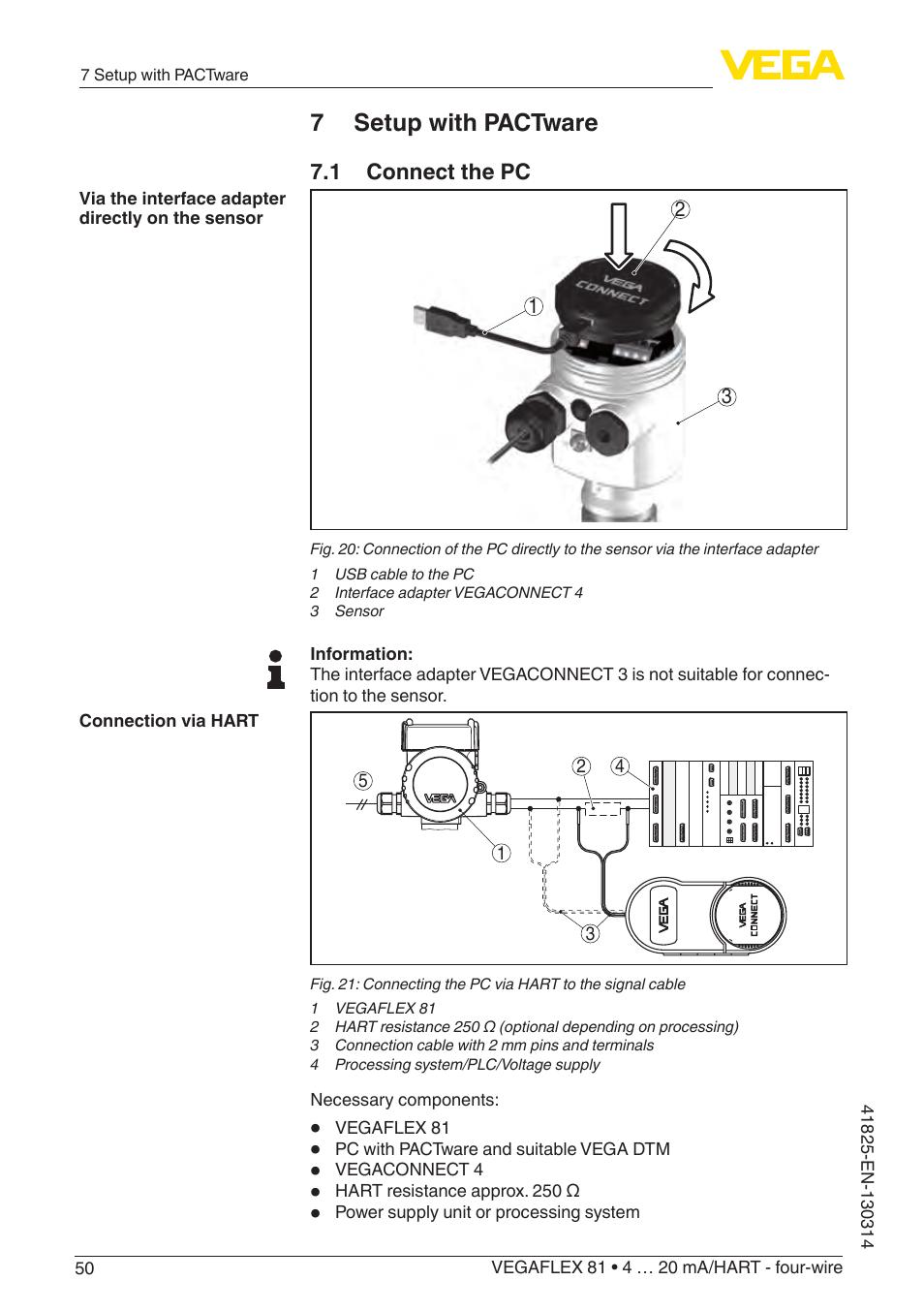 7 setup with pactware, 1 connect the pc | VEGA VEGAFLEX 81 4 … 20 ...