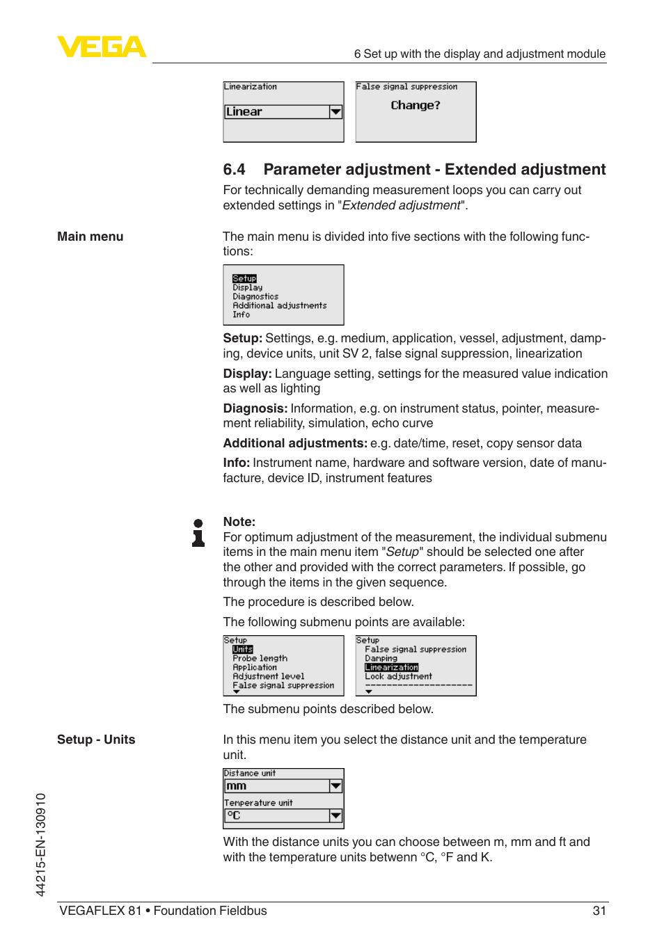 4 parameter adjustment - extended adjustment   VEGA VEGAFLEX