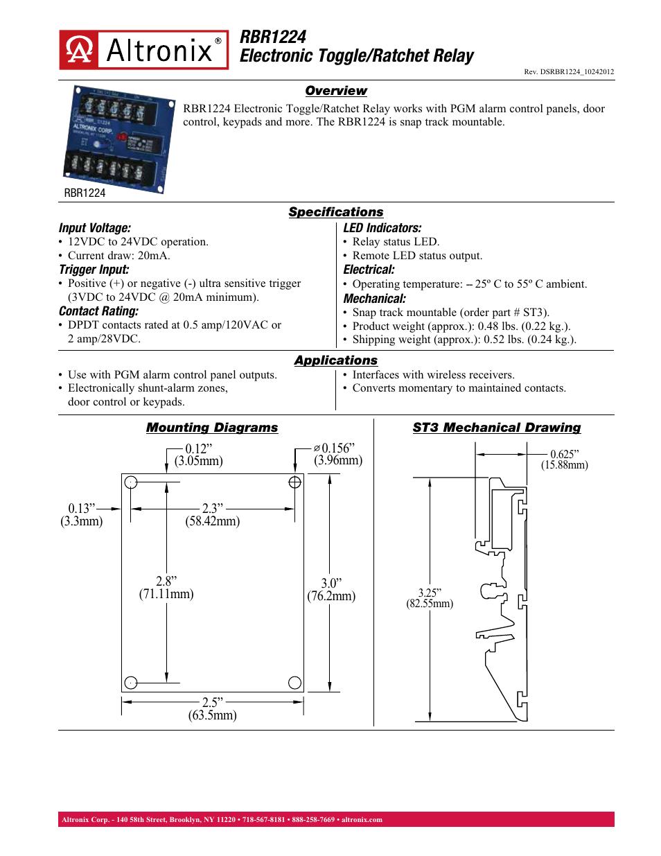 altronix relays wiring diagrams altronix rbr1224 data sheet user manual 1 page  altronix rbr1224 data sheet user manual