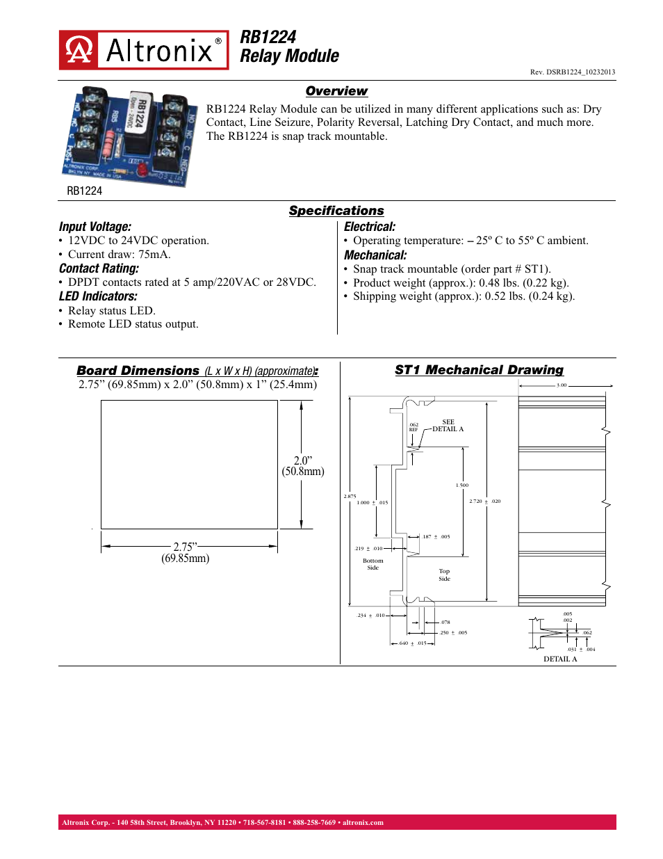 altronix rb1224 data sheet user manual 1 page rh manualsdir com Altronix Relay Module Altronix 6062 Timer Relay