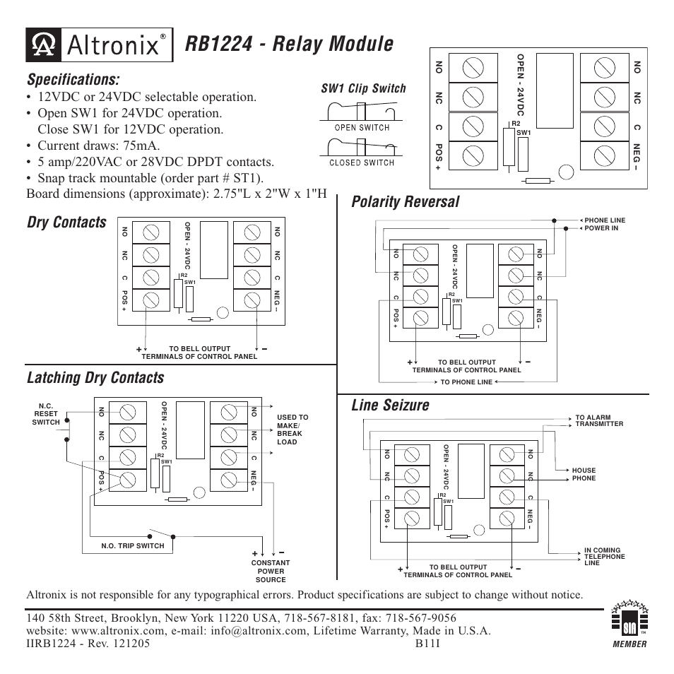 [EQHS_1162]  Altronix RB1224 Installation Instructions User Manual | 1 page | Altronix Relay Wiring Diagram |  | Manuals Directory