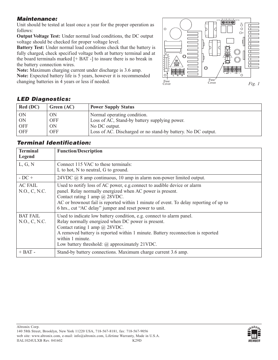 Maintenance Led Diagnostics Terminal Identification Altronix Timer Relay Wiring Diagram Al1024ulxb Installation Instructions User Manual Page 2