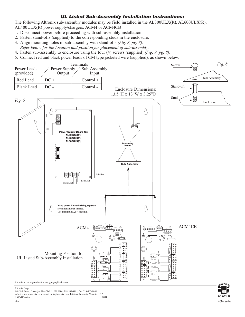 Altronix Relay Wiring Diagram 29 Images Timer Screw Acm4e Installation Instructions Page8 Ul Listed Sub Assembly Acm4cb
