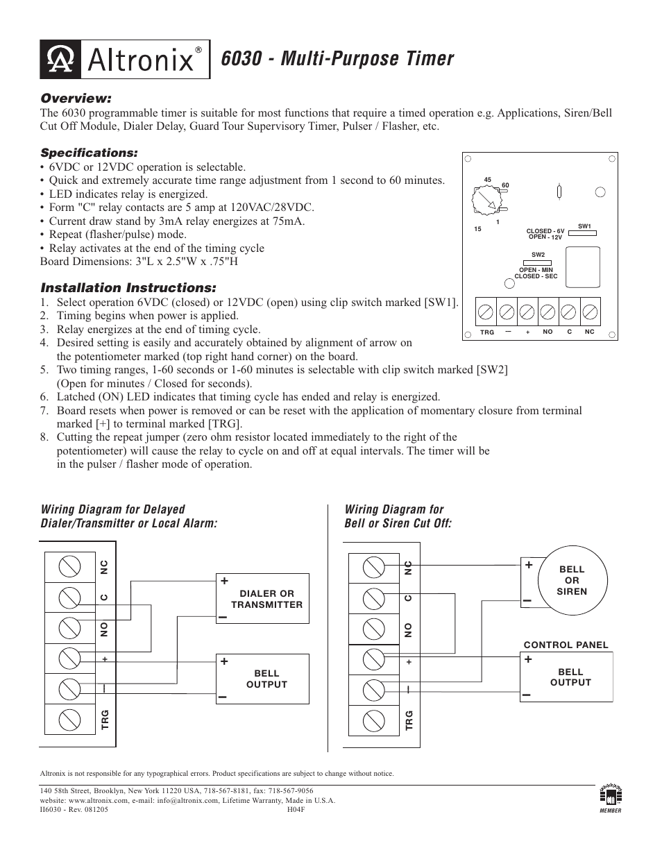 [SCHEMATICS_4FD]  Altronix 6030 Installation Instructions User Manual | 1 page | Altronix Timer Relay Wiring Diagram |  | Manuals Directory