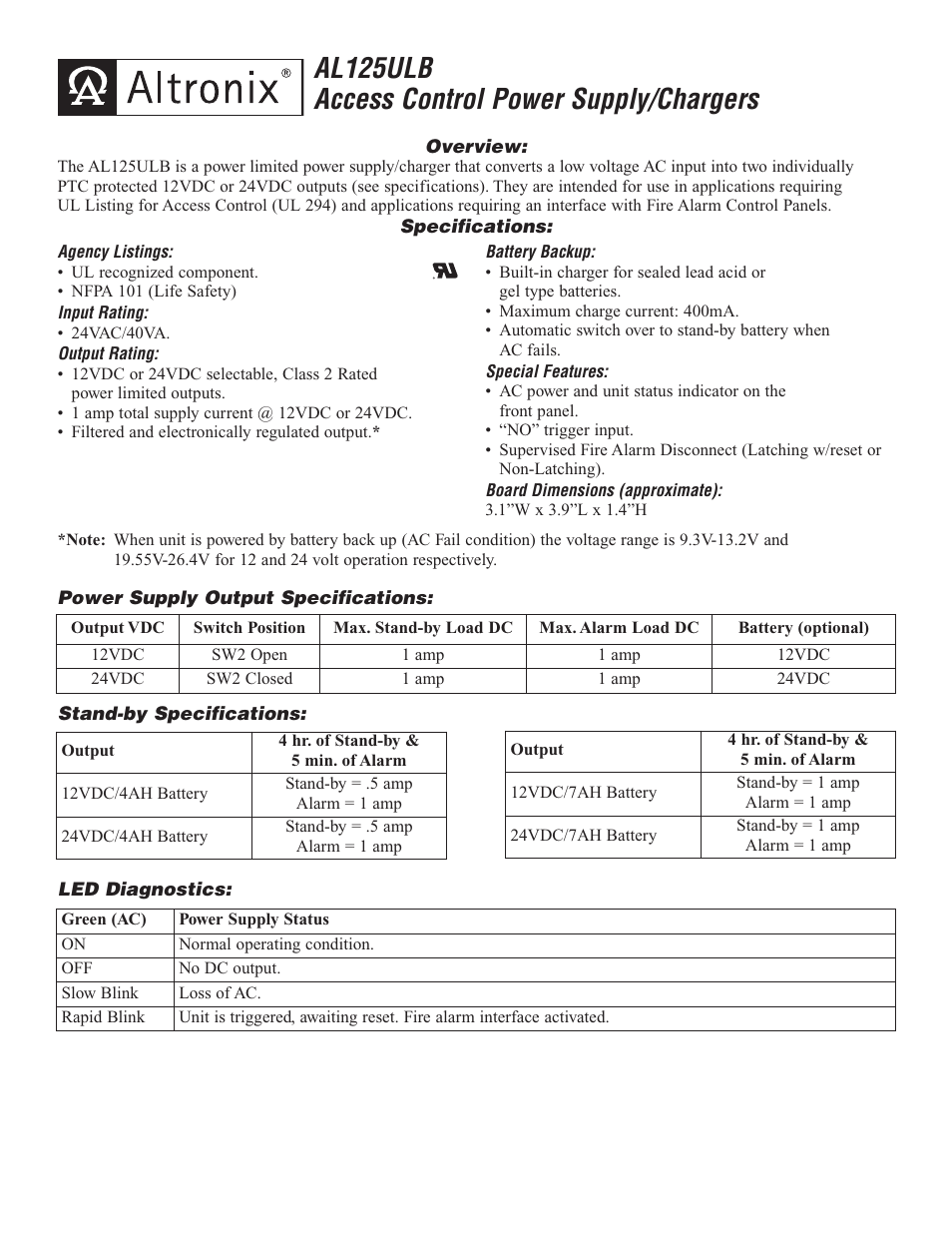 Altronix Al125ulb Installation Instructions User Manual 2 Pages 12vdc 125 Amp Regulated Switching Power Supply