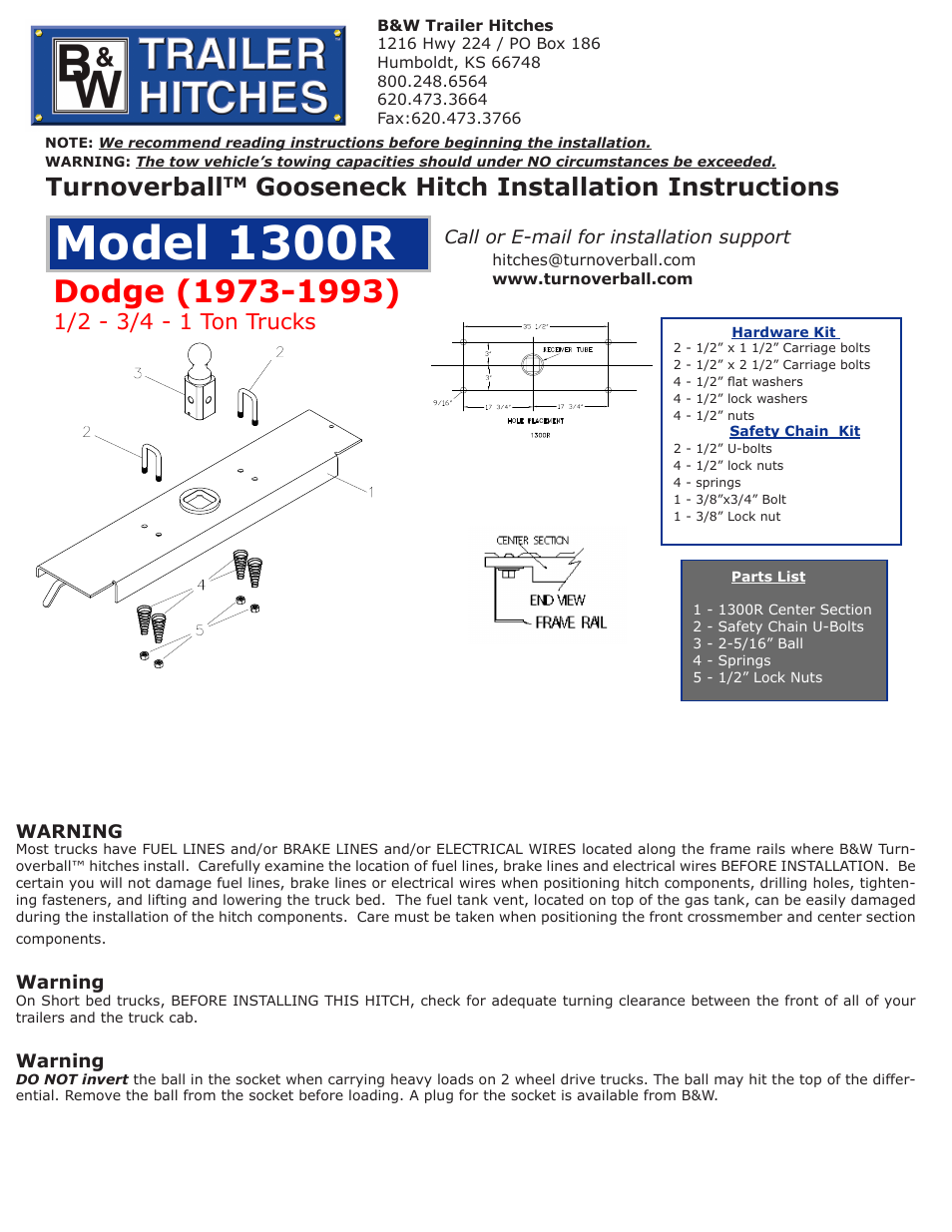 B&W Trailer Hitches Turnoverball Model 1300 (Dodge) User Manual | 2 pages