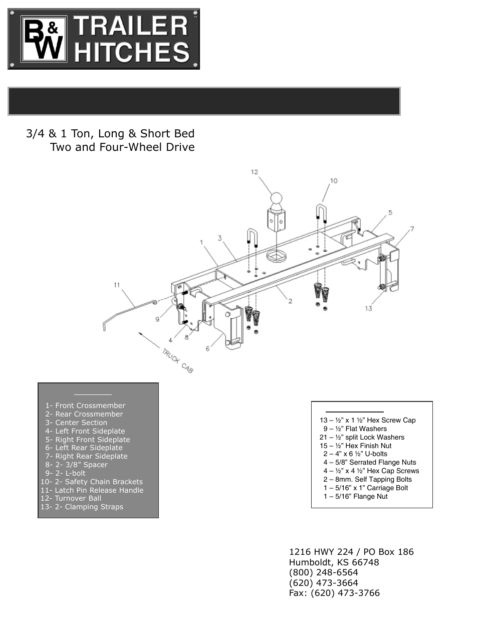 B&W Trailer Hitches Turnoverball Model 1303 (Dodge) User Manual | 4 pages