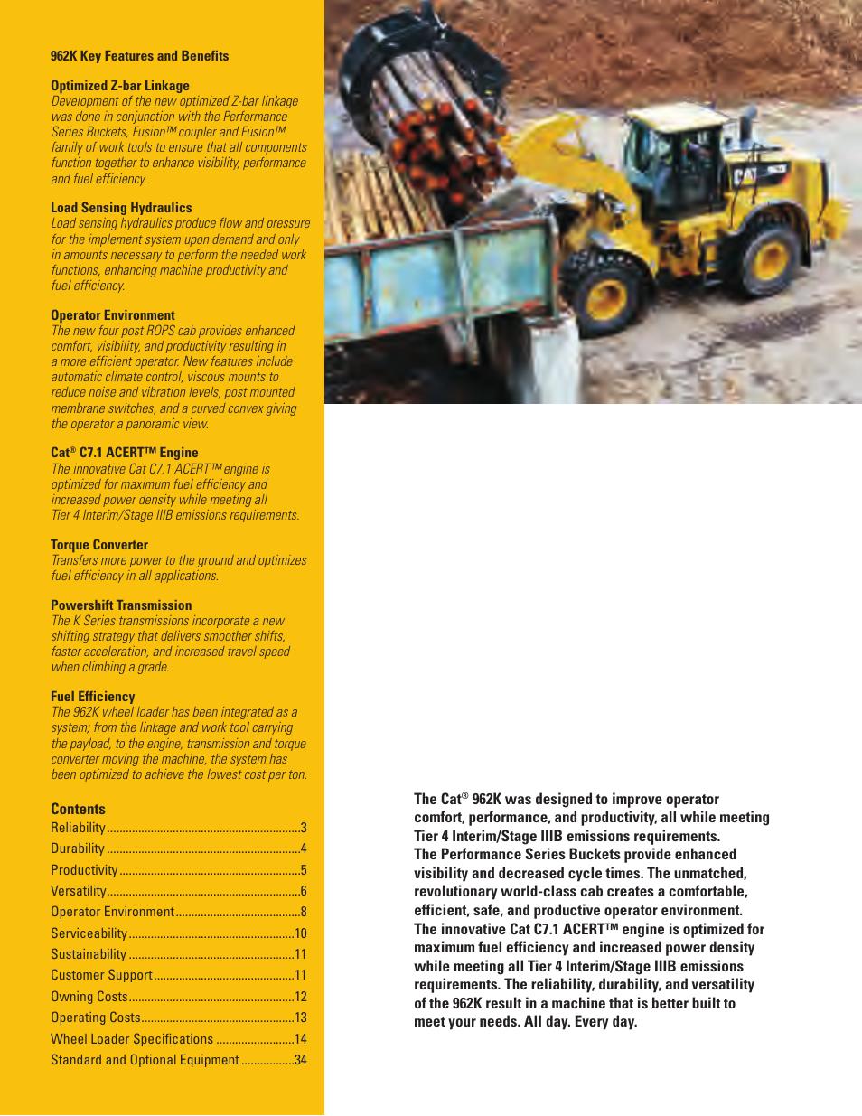 962k key features and benefits | Milton CAT 962K User Manual