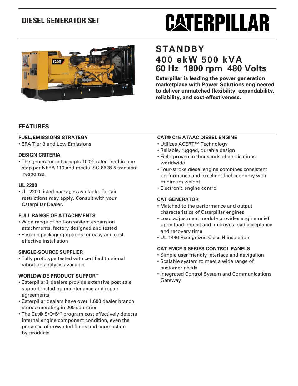 Milton CAT C15 400 ekW 500 kVA 60 Hz 1800 rpm 480 Volts Spec Sheet