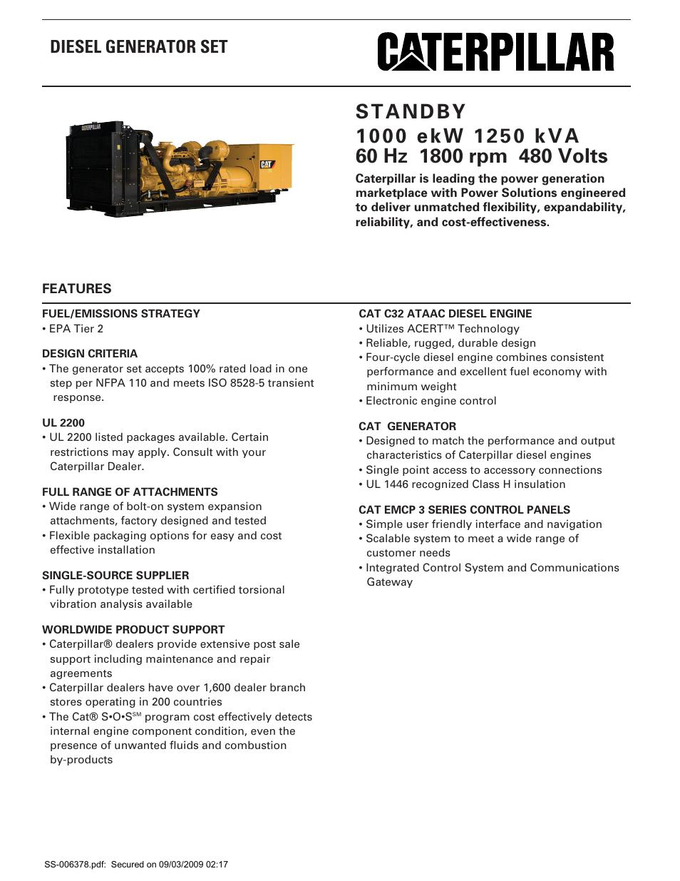 Milton CAT C32 1000 kW 1250 kVA 60 Hz 1800 rpm 480 Volts Spec Sheet