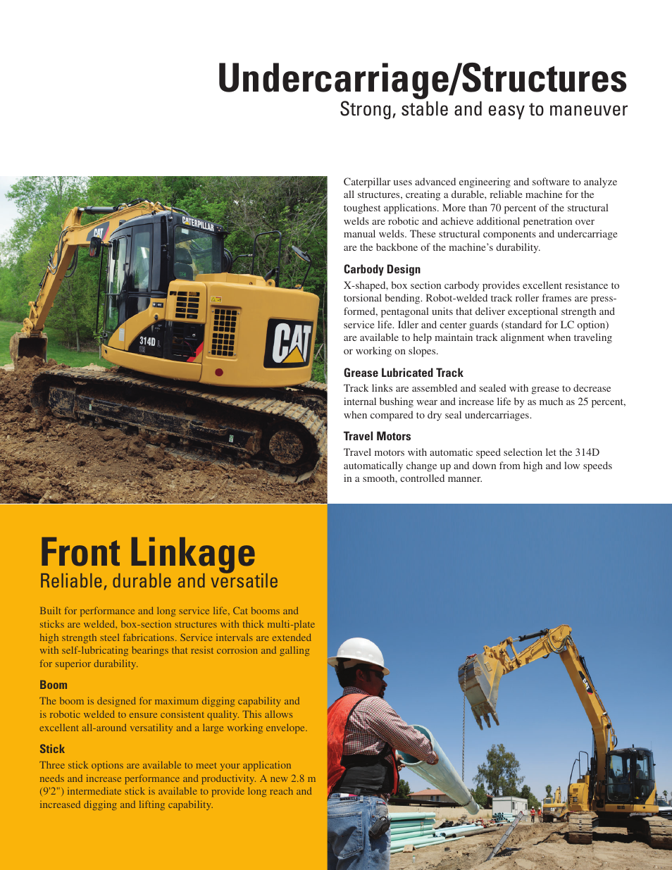 Undercarriage/structures, Front linkage, Strong, stable and