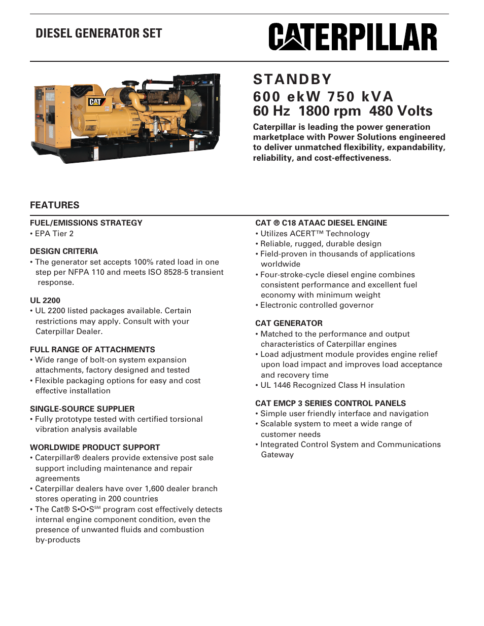 Caterpillar C18 Engine Specifications Cat Generator Wiring Diagram Milton Kva Volts Spec Sheet User Manual Pages 954x1235