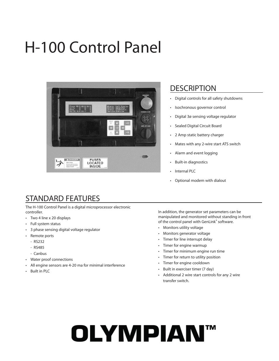 Milton CAT G200LG4 200kW_250kVA H-100 Control Panel User Manual | 2 pages |  Also for: G300LG 300kW_375kVA H-100 Control Panel, G35LG 35 kW H-100  Control PanelManuals Directory