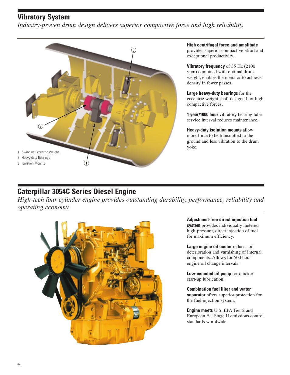 Vibratory system, Cat 3054c diesel engine, Caterpillar 3054c series diesel  engine | Milton CAT CP-323C User Manual | Page 4 / 12