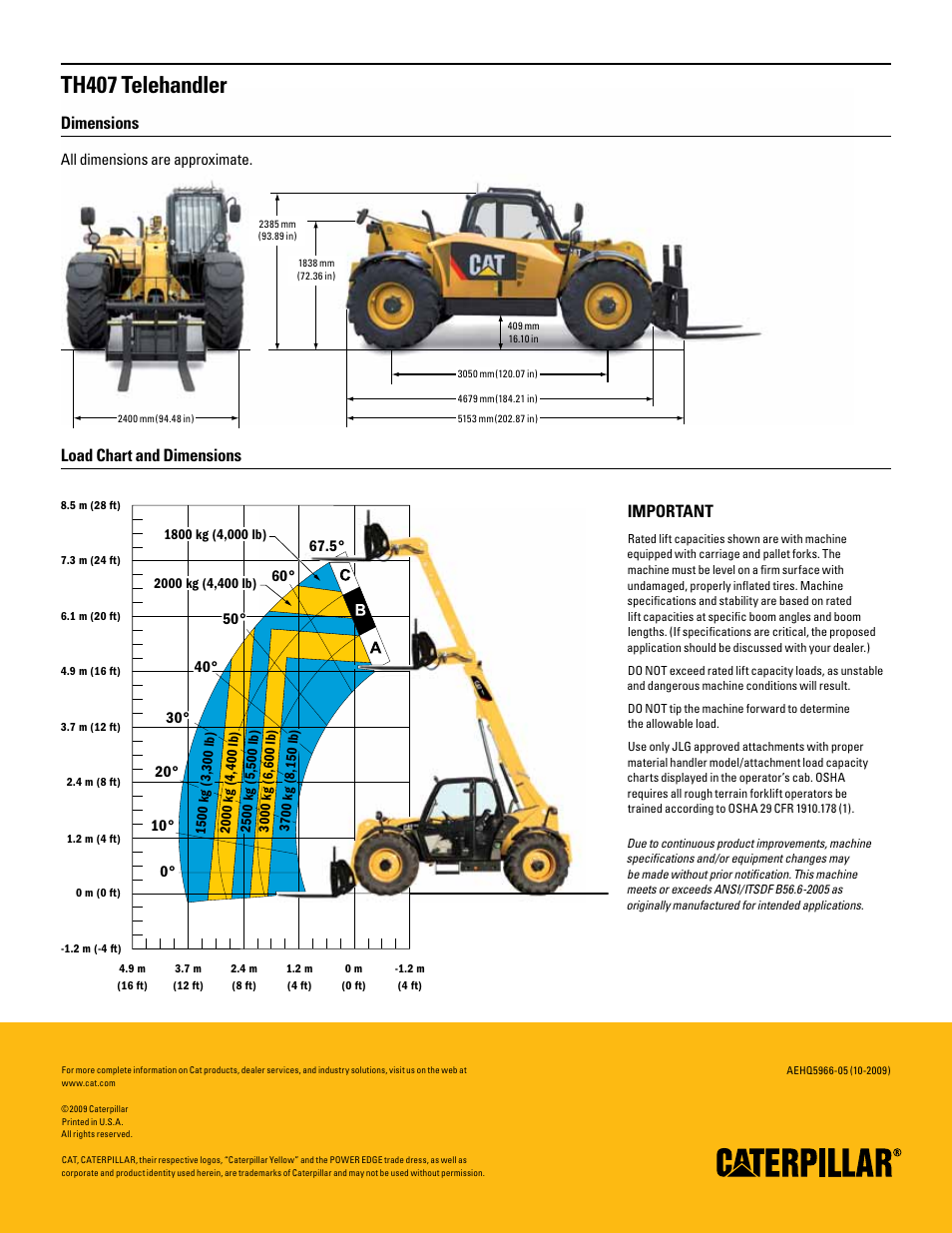 th407 telehandler  dimensions  load chart and dimensions