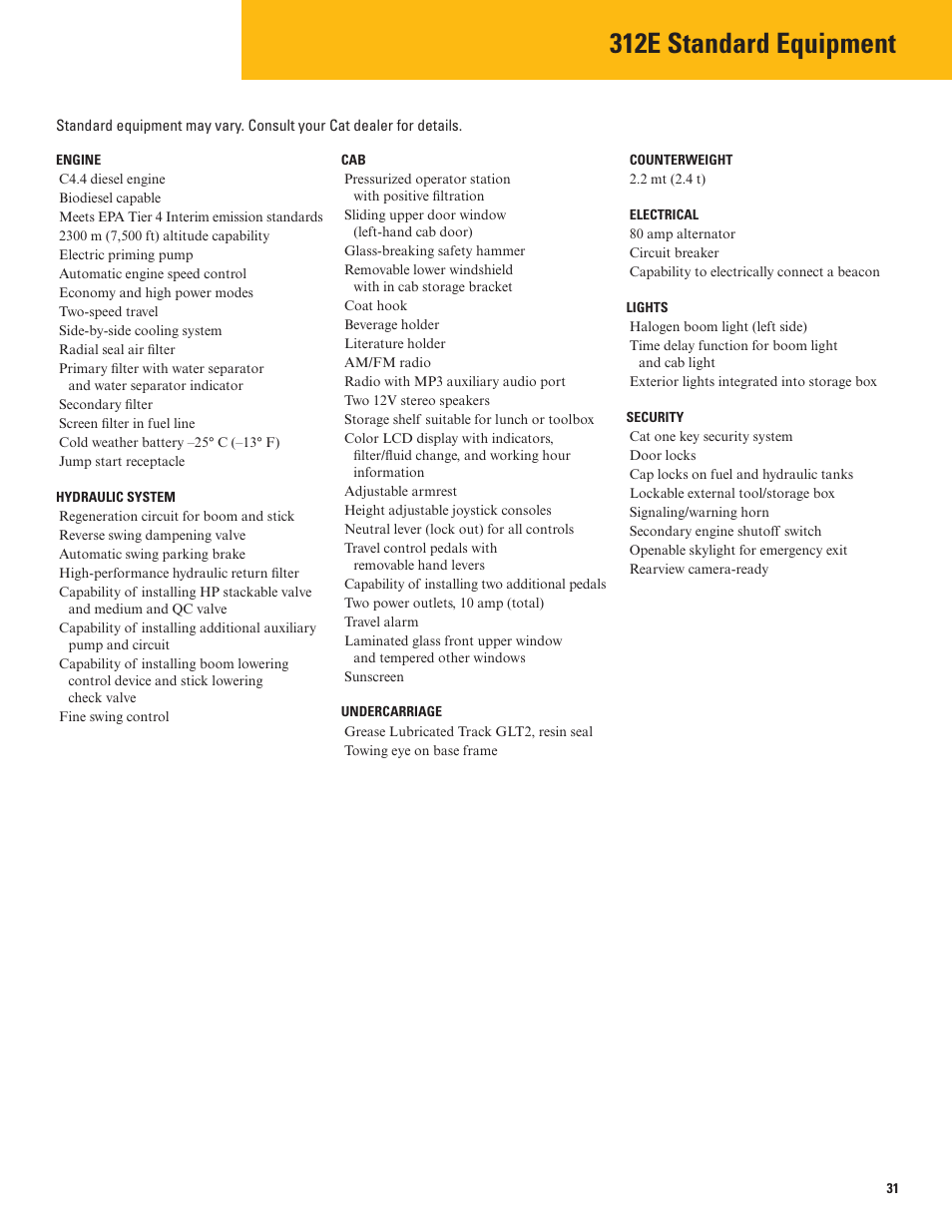 Standard equipment, 312e standard equipment | Milton CAT 312E User Manual |  Page 31 /