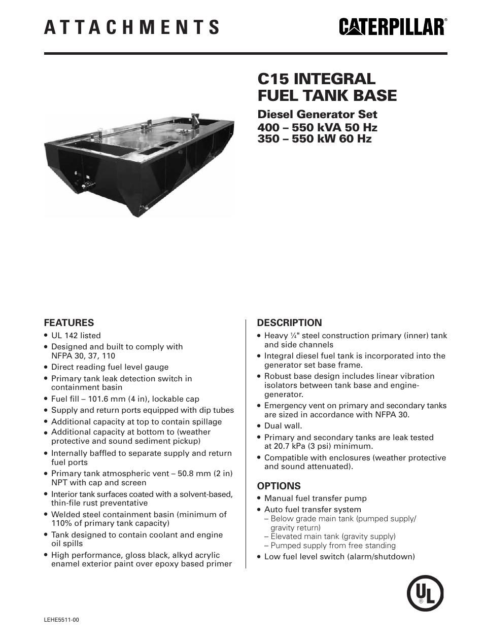 Milton Cat C15 Factory Integral Fuel Tank Base User Manual