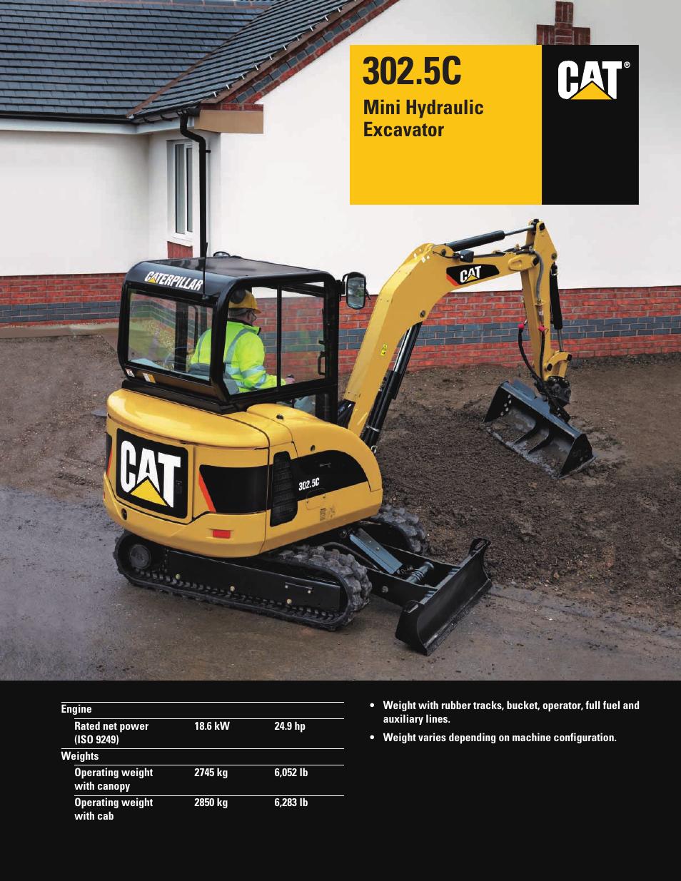 milton cat 302 5c user manual 12 pages rh manualsdir com Cat Mini Excavator Parts cat mini excavator owners manual