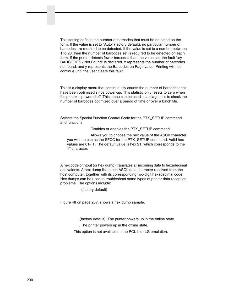 Barcodes on page, Bcodes optimized, Ptx_setup option | Printronix