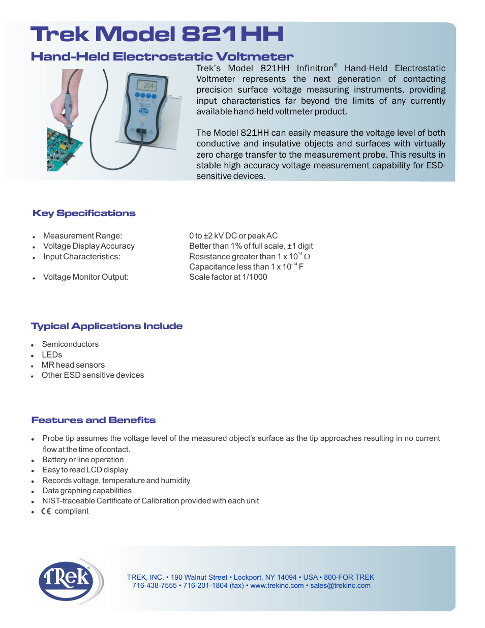 Trek 821HH Hand-Held Electrostatic Voltmeter User Manual | 2
