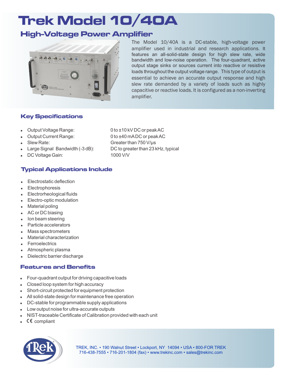 Trek 10 40a High Voltage Power Amplifier User Manual 2 Pages Short Circuit A Is Closed In