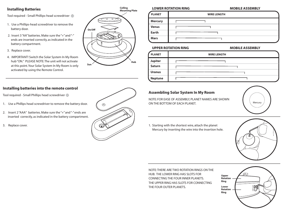 Uncle Milton Solar System In My Room User Manual Page 2 4 Original Mode