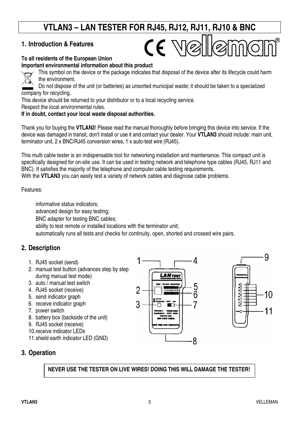Velleman Vtlan3 User Manual Page 3 12 Leds To A Live Circuit This Will Damage The Led Immediately And