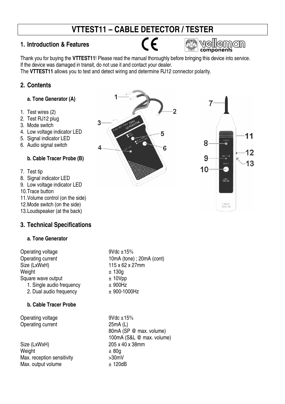 Wiring A Rj12 Plug Velleman Vttest11 User Manual 11 Pages